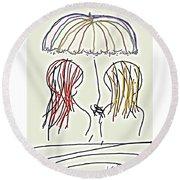 Women Hoping For Rain 2 Round Beach Towel