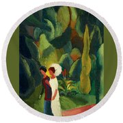 Women In A Park With A White Parasol Round Beach Towel