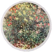 Women In The Flowers Round Beach Towel by Claude Monet