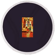 Women With Baskets Round Beach Towel
