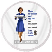 Women's Army Corps - Ww2 Round Beach Towel