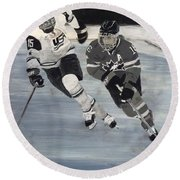 Women's Hockey Round Beach Towel by Richard Le Page