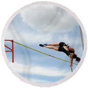 Womens Pole Vault Round Beach Towel