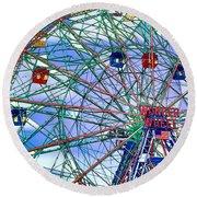 Wonder Wheel Amusement Park 3 Round Beach Towel