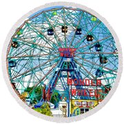 Wonder Wheel Amusement Park 6 Round Beach Towel