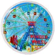 Wonder Wheel Amusement Park 7 Round Beach Towel