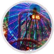 Wonder Wheel At The Coney Island Amusement Park Round Beach Towel