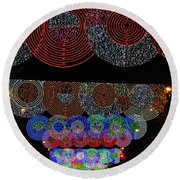 Wonderful And Spectacular Christmas Lighting Decoration In Madrid, Spain Round Beach Towel