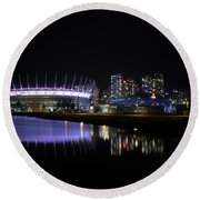 Wonderful Night Of False Creek View With Bc Place. Round Beach Towel