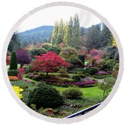 Wonderful Sunken Garden In The Butchart Gardens,victoria,canada 1. Round Beach Towel