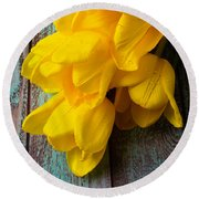 Wonderful Yellow Tulips With Dew Round Beach Towel