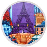 Wonders Of Paris Round Beach Towel