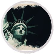 Wonders Of The Worlds - Lady Liberty Of New York 2 Round Beach Towel