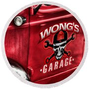 Wong's Garage Round Beach Towel