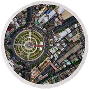 Wongwian Yai Roundabout Surrounded By Buildings, Bangkok Round Beach Towel by Pradeep Raja PRINTS