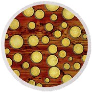 Wood And Gold Round Beach Towel