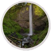 Wood Bridge At Latourell Falls Round Beach Towel