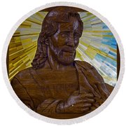 Wood Carving Of Jesus Round Beach Towel