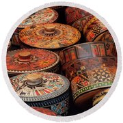 Wood Containers Round Beach Towel