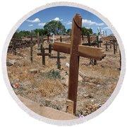 Wood Crosses In Taos Cemetery Round Beach Towel