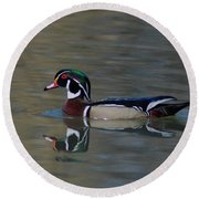 Wood Duck - Male Round Beach Towel
