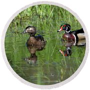 Wood Duck Couple Round Beach Towel