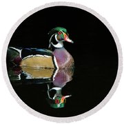 Wood Duck Reflection Round Beach Towel
