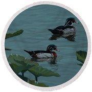 Wood Ducks On Lake Morton Round Beach Towel