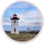 Wood End Light 2015 Round Beach Towel