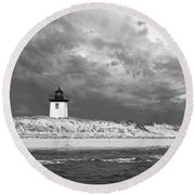 Wood End Lighthouse Provincetown Round Beach Towel