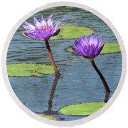 Wood Enhanced Water Lilies Round Beach Towel