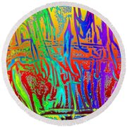 Wood Fire Rainbow Round Beach Towel