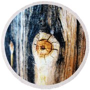 Wood In Macro #1 Round Beach Towel
