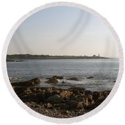 Wood Island Lighthouse 1 Round Beach Towel