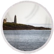 Wood Island Lighthouse 2 Round Beach Towel