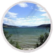 Wood Lake In Summer Round Beach Towel