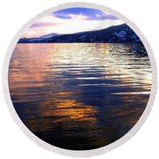 Wood Lake Reflections Round Beach Towel
