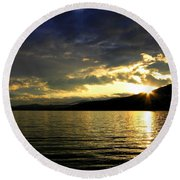 Wood Lake Sunburst Round Beach Towel