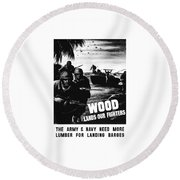 Wood Lands Our Fighters Round Beach Towel