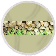 Wood Pile Round Beach Towel