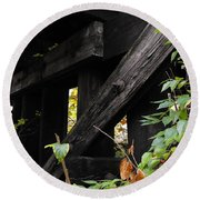 Wood Rail Underpass Round Beach Towel