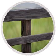 Wood Railing Over The Marsh Round Beach Towel