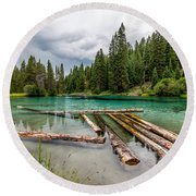 Wood River 04 Round Beach Towel