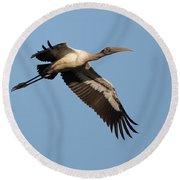 Wood Stork 1 Round Beach Towel