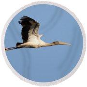 Wood Stork 2 Round Beach Towel