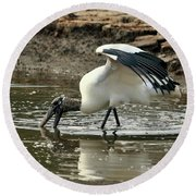 Wood Stork Fishing Round Beach Towel