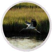 Wood Stork Winged Flight Round Beach Towel