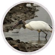 Wood Stork With Fish Round Beach Towel