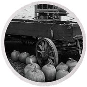 Wood Wagon And Pumpkins Black And White Round Beach Towel