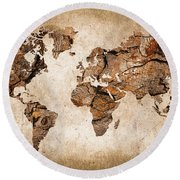Wood World Map Round Beach Towel by Delphimages Photo Creations